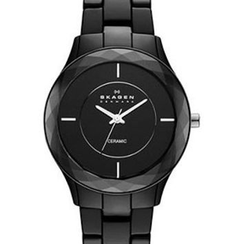 Skagen Perspektiv Ladies Ceramic  & Steel Watch - Black - Faceted Crystal