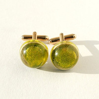 Lime Green Cufflinks, Resin Cabochons Gold Plated