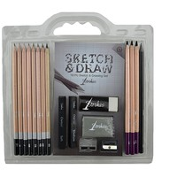 Strokes Art 18-piece Professional Artist Sketch & Draw Pencil Set High Quality Premium Charcoal Sticks Includes Erasers and Sharpeners