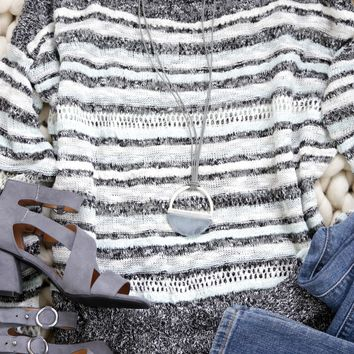 Loose Knit Striped Sweater, Light Blue