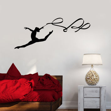 Vinyl Wall Decal Gymnastics Ribbon Sport Beautiful Women Stickers Unique Gift (992ig)