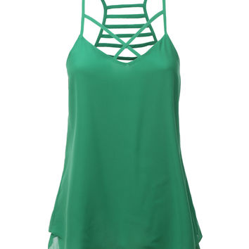 LE3NO Womens Lightweight Double Layered Chiffon Racerback Tank Top (CLEARANCE)