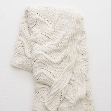Aerie Real Obsessed™ Cable Knit Blanket, Cream