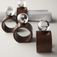 Four Clear Ball Napkin Rings