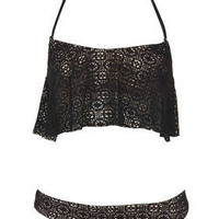 Black Crochet Frill Bikini - Swimwear  - Clothing