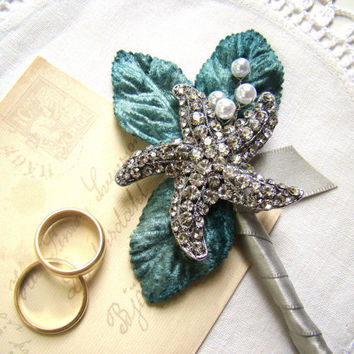Starfish Brooch Boutonniere, Wedding Boutonniere, Grooms Flower, Beach Wedding, Aqua, Teal, Destination Wedding Ceremony