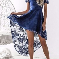 Navy Blue Patchwork Lace Cross Back Backless Swallowtail High-Low Party Maxi Dress