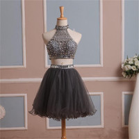 Two Pieces Short  High Neck Crystals Tulle Mini  Winter Ball Gown Dress