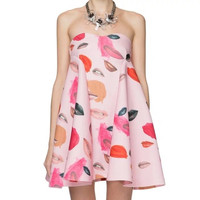 Pink Lips And Paint Print Strapless Zippered Dress
