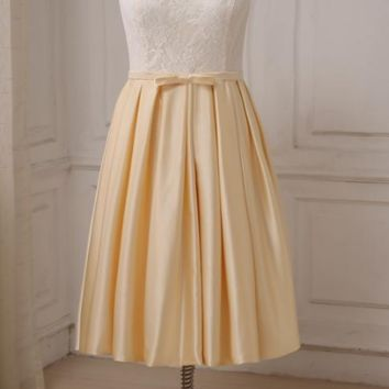 New Arrival Bridesmaid Dresses Lace Satin A line Tea Length Short Maid of Honor Dress Wedding Party Gowns