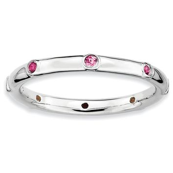 Sterling Silver Stackable Expressions Pink Tourmaline Eternity Ring