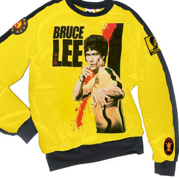 Martial Arts Bruce Lee Yellow Two Tone Sweatshirt