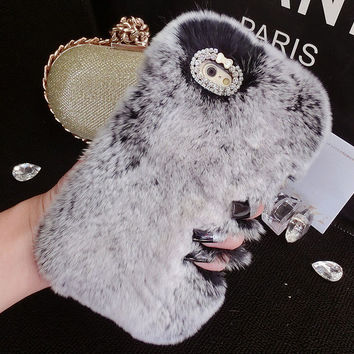 Bling Crystal Rhinestone Design Fashion Colour Fluffy Soft Genuine Rabbit Fur Handmade Winter Warm Case Cover for Apple iPhone 5s 5 SE 6 6S 6 Plus 6S Plus DC080701