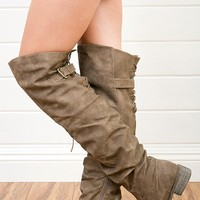 Nature Breeze Olympia01 Taupe Back Zipper Over the Knee Boots and Shop Boots at MakeMeChic.com