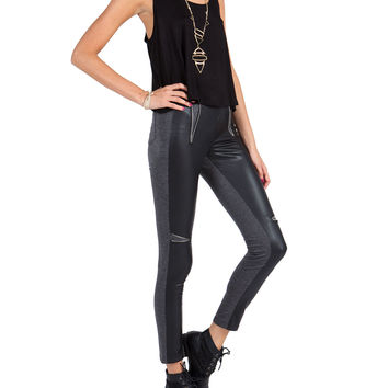 Leather Zipper Wedge Leggings - Gray - Large