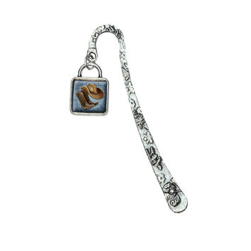 Cowboy Hat and Boots Country Bookmark w- Square Silver Charm