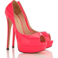 Shoes : 'L.A'  Hot Pink Peep-Toe Leather High Heeled Pumps