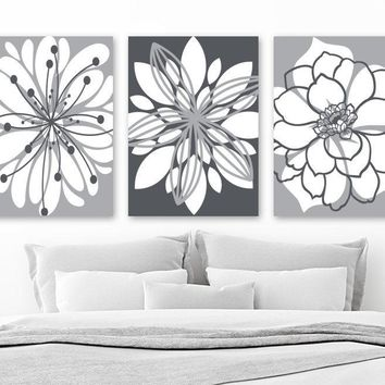 GRAY Flower Wall Art, Canvas or Prints, Floral Gray Bathroom Decor, Floral Gray Bedroom Wall Decor, Living Room Wall Decor, Set of 3 Artwork