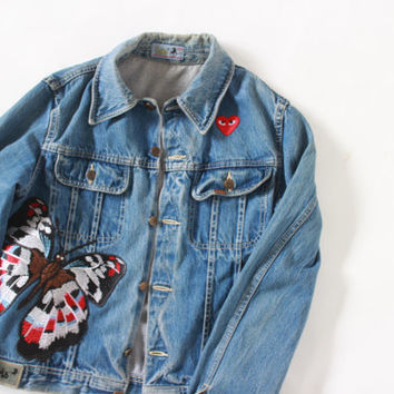 Vintage unisex LOIS distress faded wash denim jacket with Comme des garcons iron on patch Heart Play and butterfly moth | Size S - M