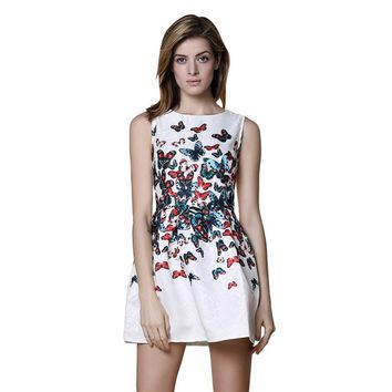 Fashionable Round Collar Sleeveless Butterfly Print A-Line Ball Gown Dress for Women
