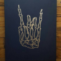 "Skeleton Rock Hands/ Peace Sign 11x14"" or 12x12"" Black Canvas, Rock Hands, Metallic on Black, Alt Decor, Pop Punk, Punk Rock, Music Gifts"