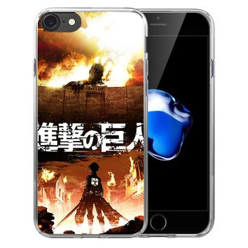 Cool Attack on Titan  Anime Soft Transparent Silicone  case Cover For iPhone X 8 7 7Plus 6 6S Plus 5 5S SE AT_90_11