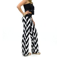 Laguna Beach Black & White Chevron Striped Palazzo Pants