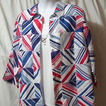 Blouse Set, Red White Blue, Bonus Necklace, Plus Size 18W, Summer, Resort Cruise Wear, Alfred Dunner