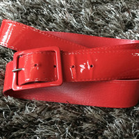 Vintage Red Belt, Vegan Patent Leather Red Belt, Shiny Red Vintage Belt Faux Leather Belt Wide Belt Fire Engine Red Shiny Belt Faux Patent L