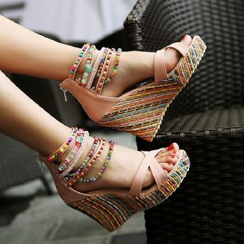 String Bead Summer Women Shoes Wedges Sandals Female Platforms Party Shoes Boho Casual Ladies Zip Fashion Heeled Sandals ABT974