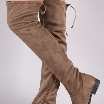 Liliana Suede Drawstring Tie Riding Over-The-Knee Boots