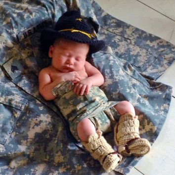 Army Hat And Tanker Boots - Baby Army Outfit - Prop - Newborn Photo Prop - Cavalry Stetson - Combat Boots - Newborn Photo Outfit -