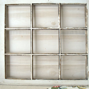 Distressed Square Window Frame, Old Chippy Wooden Window Frame, Antique 9 Pane Window Without Glass for Craft, Vintage Wood Window