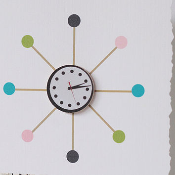 Handmade Retro Atomic Baby Shower gift card, mid century modern star burst clock paper goods, cute 1050's vintage wall clock baby gift girl