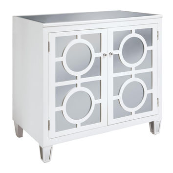 Crestview Circles White 2-Drawer Cabinet - CVFUR034W