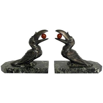 Beautiful Pair of French Art Deco Bookends by Hippolyte Francois Moreau
