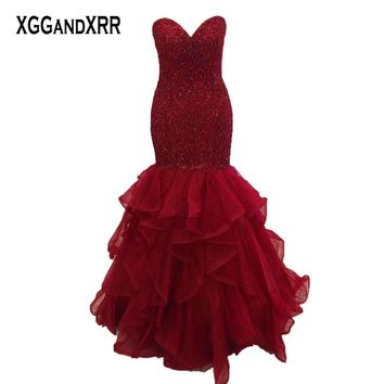 Charming Burgundy Prom Dress Mermaid Evening Dresses Long Formal Party Gown Sweetheart Off Shoulder Heavy Luxury beading Ruffle