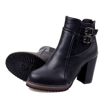 Ankle Boots Leather Buckle Autumn Boots