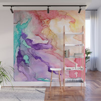 Color My World Watercolor Abstract Painting Wall Mural by rosiebrown