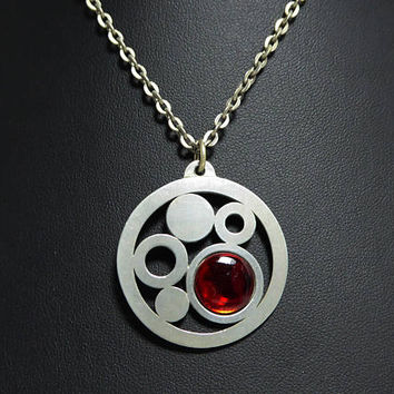 Danish Modern Pewter Pendant Necklace Signed Jorgen Jensen,Abstract Circles Opened Work, Round Red Glass Cab, 20 inch Chain, Vintage 1960s