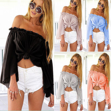 Off-shoulder Flare Sleeves Beach Cover Up Blouse