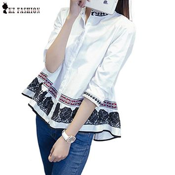 Spring Autumn Chinese Style Lace Blouses Three Quarter Cotton Embroidery Ruffles Beads White Shirt Size M-4XL T61374R