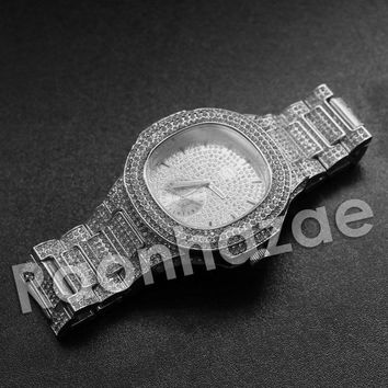 Iced Out Hip Hop 'Im on 2.0' Silver Bling Wrist Watch