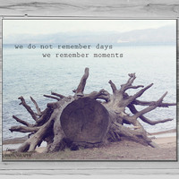 Tree Photography, Inspirational quote, Wall art, We do not remember days remember moments, Typography Print, 8x10 Photo Lake Tahoe