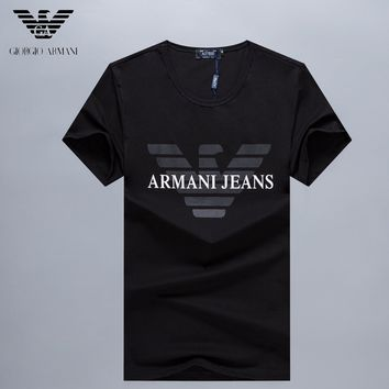 Armani  Men Fashion Casual Letter Print Shirt Top Tee