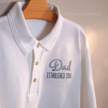 Dad Father Grandpa Grandfather Men's Polo Shirt Custom Embroidered Personalized Wordin