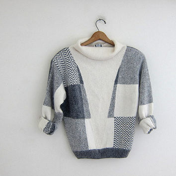vintage silk and angora sweater. preppy white and gray sweater. turtleneck sweater. women's size M