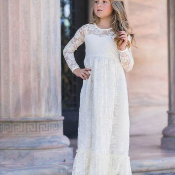 Maybelle Buttercream Long Sleeve Lace Ruffle Bottom Lace Gown Dress