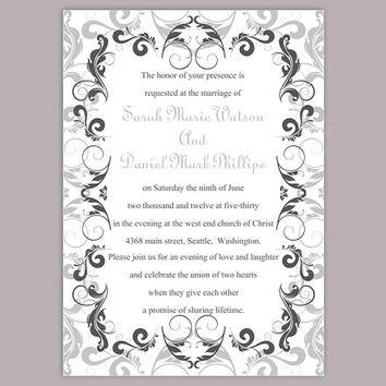 DIY Wedding Invitation Template Editable Word File Instant Download Printable Silver Invitation Gray Wedding Invitation Black Invitations