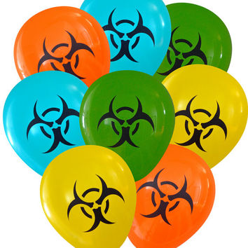 Biohazard Symbol Science Party Balloons - Pack of 8 | Geeky Birthday Decorations Teacher Mad Scientist Chemist Physicist Zombie Kids Party